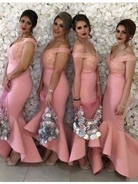 Stunning Pink V Neck Mermaid with Lace High Low Bridesmaid Dress