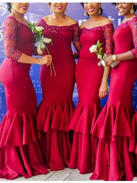 Chic Burgundy Off Shoulder 3/4 Sleeves with Beading Mermaid Bridesmaid Dress