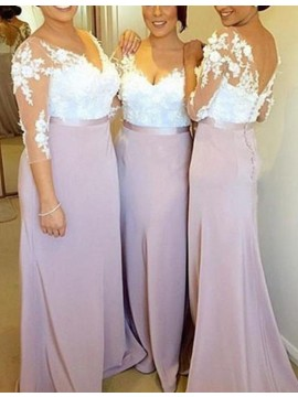 Nice Lavender V Neck 3/4 Sleeves Sheath with Lace Long Bridesmaid Dress