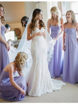 Lovely Lavender Sweetheart Floor Length Ruched Bridesmaid Dress