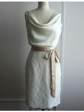 Cute Ivory Scoop Short Sheath Lace with Sash Bridesmaid Dress