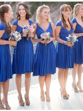 Youthful Royal Blue V Neck Cap Sleeves with Pleats Short Bridesmaid Dress