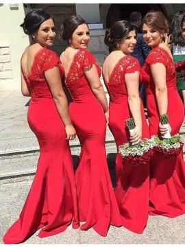 Adorable Red V Neck Mermaid Long Lace Bridesmaid Dress