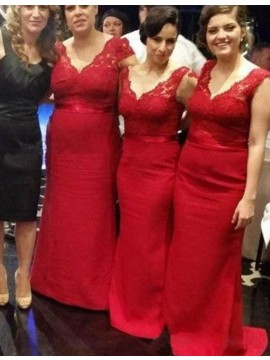 Adorable Red V Neck Mermaid Sweep Train with Sash Lace Bridesmaid Dress