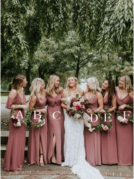 Long Mismatched Dusty Rose Bridesmaid Dresses