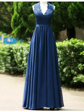 Pretty Dark Blue V Neck Long Pleated Open Back with Lace Bridesmaid Dress