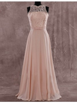 Simple Peach Jewel Floor Length Pleated with Lace Illusion Back Bridesmaid Dress