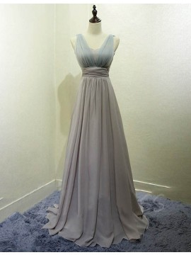 Pretty Silver Scoop Floor Length Pleated Bridesmaid Dress