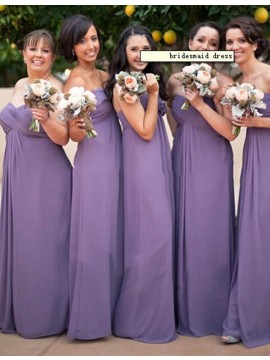 Fancy Lavender Sweetheart Sleeveless Long Ruched Bridesmaid Dress