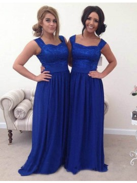 A-Line Square Neck Floor-Length Royal Blue Bridesmaid Dress with Lace