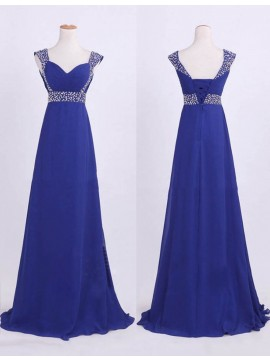 Nice Blue Scoop Sleeveless with Beading Ruched Long Bridesmaid Dress