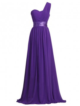 Charming Purple One Shoulder Floor Length Pleated Bridesmaid Dress