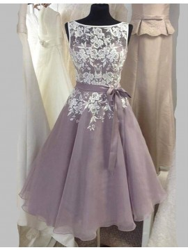Glamorous Gray Bateau Sleeveless Mid-Calf with Sash Lace Top Bridesmaid Dress
