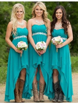 Stunning Turquoise Jewel High Low Pleated with Beading Pearls Bridesmaid Dress