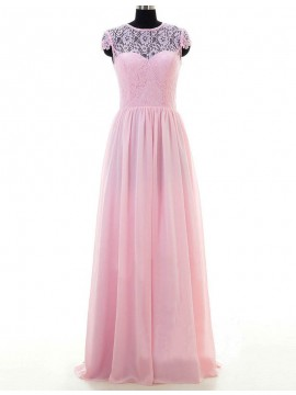 Simple Pink Jewel Cap Sleeves Floor Length with Lace Bridesmaid Dress