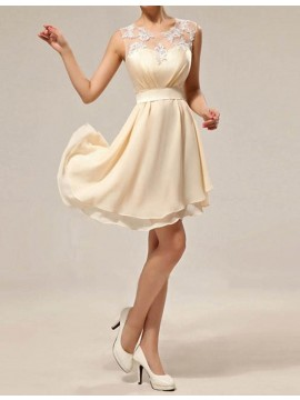 Chic Light Champagne Jewel Sleeveless with Lace Asymmetical Bridesmaid Dress