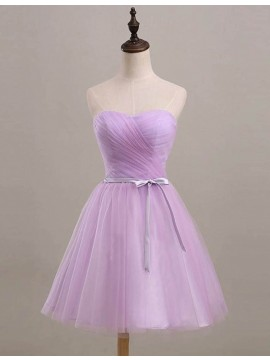 Youthful Lavender Sweetheart Short Ruched with Sash Bridesmaid Dress