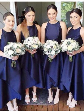 Navy Blue Jewel Sleeveless Asymmetrical Short Bridesmaid Dress