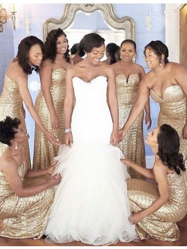 Mermaid Sweetheart Floor-length Gold Sequined Bridesmaid Dress