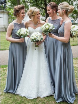 A-Line Bateau Backless Grey Chiffon Bridesmaid Dress with Lace
