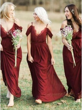 A-Line Spaghetti Straps Long Burgundy Bridesmaid Dress with Lace