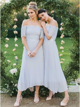 A-Line Pleated Chiffon Off-the-Shoulder Bridesmaid Dress with Lace