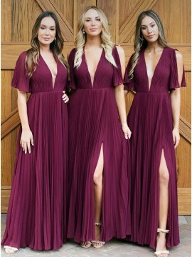 A-Line V-Neck Pleated Chiffon Burgundy Bridesmaid Dress with Split