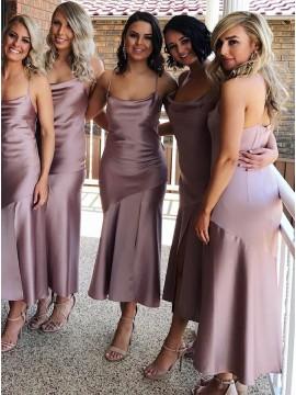 Mermaid Spaghetti Straps Sleeveless Blush Stretch Satin Simple Bridesmaid Dress