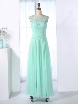 A-Line Round Neck Floor-Length Mint Green Bridesmaid Dress with Appliques