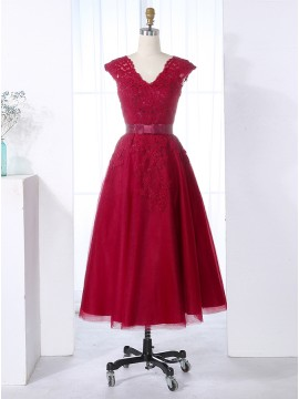 A-Line V-Neck Cap Sleeves Knee-Length Bridesmaid Dress with Lace