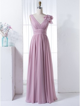A-Line V-Neck Floor-Length Lavender Chiffon Bridesmaid Dress with Pleats