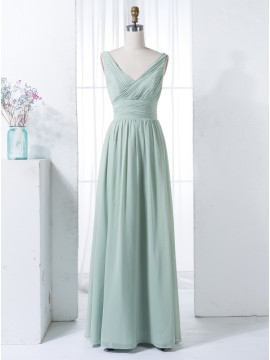 A-Line V-Neck Floor-Length Sage Chiffon Bridesmaid Dress with Pleats