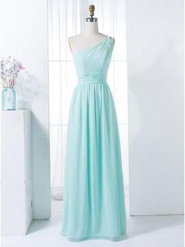 A-Line One-Shoulder Floor-Length Mint Green Bridesmaid Dress with Beading