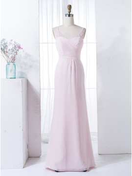 Sheath V-Neck Floor-Length Pink Bridesmaid Dress with Lace