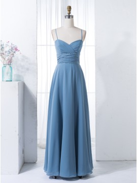 A-Line Spaghetti Straps Floor-Length Dark Blue Chiffon Bridesmaid Dress