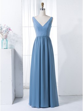 A-Line V-Neck Long Dusty Blue Bridesmaid Dress with Lace