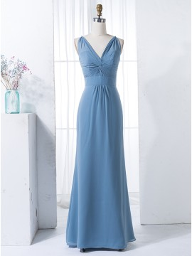 Sheath Spaghetti Straps Floor-Length Dark Blue Bridesmaid Dress with Pleats