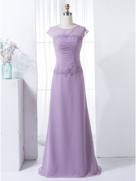 Sheath Round Neck Cap Sleeves Lilac Bridesmaid Dress with Pleats