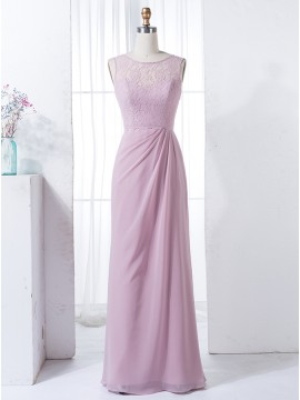 Sheath Round Neck Floor-Length Pink Bridesmaid Dress with Lace