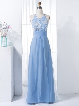 A-Line Spaghetti Straps Floor-Length Blue Bridesmaid Dress with Lace