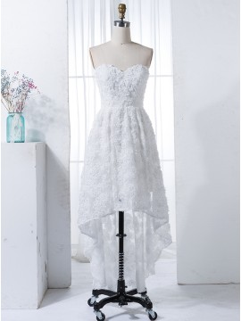 A-Line Sweetheart High Low White Lace Bridesmaid Dress