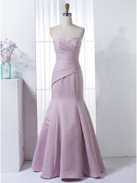 Mermaid Sweetheart Floor-Length Lilac Satin Bridesmaid Dress with Pleats