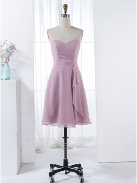 A-Line Sweetheart Short Pink Chiffon Bridesmaid Dress with Ruffles