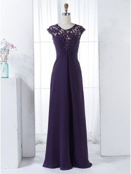 A-Line Round Neck Cap Sleeves Grape Chiffon Bridesmaid Dress with Beading