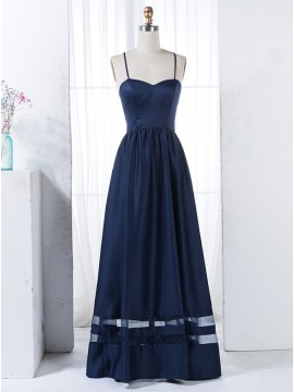 A-Line Spaghetti Straps Floor-Length Dark Navy Bridesmaid Dress