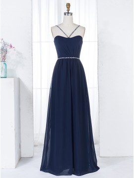 A-Line Halter Floor-Length Navy Blue Chiffon Bridesmaid Dress