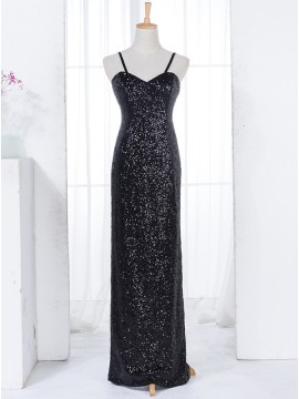Mermaid Spaghetti Straps Floor-Length Black Sequined Bridesmaid Dress