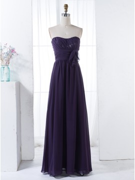 A-Line Sweetheart Floor-Length Grape Chiffon Bridesmaid Dress with Sequins