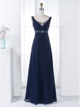 A-Line V-Neck Floor-Length Navy Blue Chiffon Bridesmaid Dress with Beading