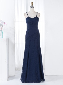 Mermaid Spaghetti Straps Floor-Length Navy Blue Lace Bridesmaid Dress